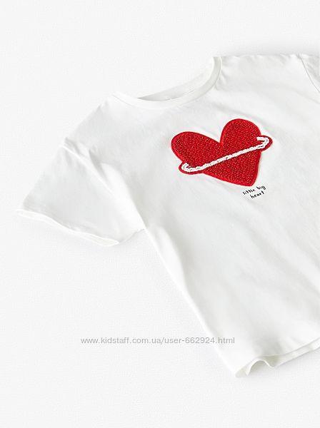 Актуальная футболка, сердце из бисера от ZARA, 13-14, XS