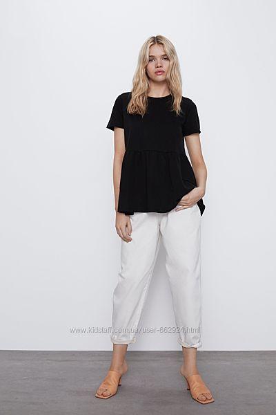 Черная футболка туника, с баской, ZARA, S,