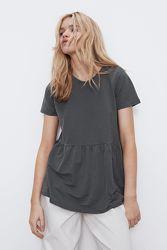 Классная футболка туника, с баской, ZARA, s,