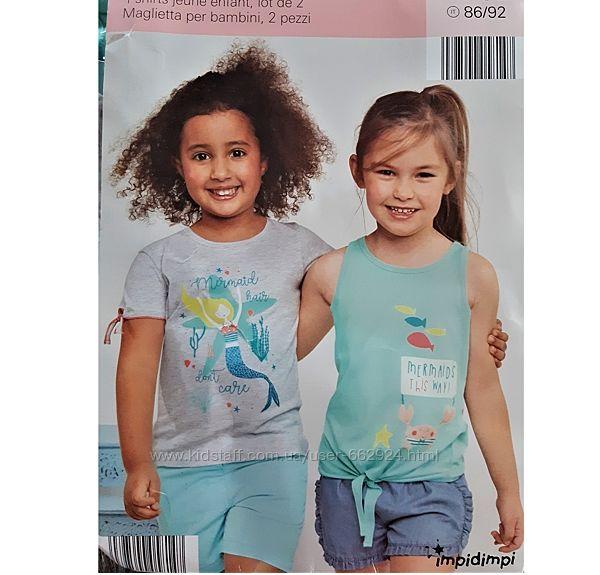 Модная футболка, майка, комплект 2 шт, 86-92, Impidimpi, Германия