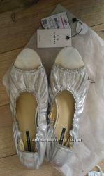 Коллекция 2017 года, оригинал - балетки туфли кожа Zara по суперцене