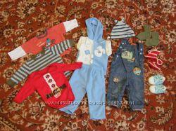 Пакет одежды мальчику 6-12 месяцев плюс подарки
