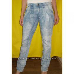 Джинсы- брюки  голубые высветленные лето распродажа