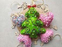 Декор. Украшение. Игрушки на ёлку. Фетр. Подарок на Рождество. Новый год