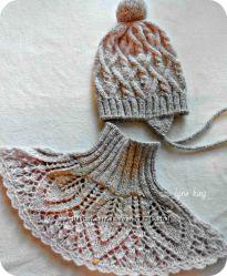 Шапка, манишка или шарф комплект для девочки