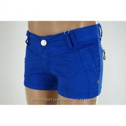хлопковые короткие  шорты синие лето