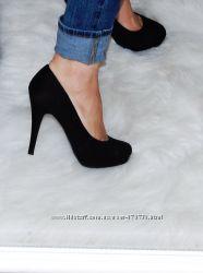 Туфли на каблуке new look черные р-р 38, cтелька 24. 3 см
