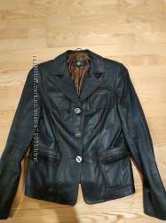 Женский кожаный пиджак размер M L