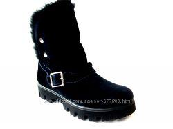 31. акция, ботинки зимние   с верхом из натуральной замши,  к1527,