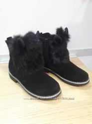 Кожаные натуральная замша Зимние ботинки для девочки тм Мальвы рр. 30 31 32