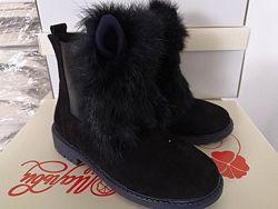 Натуральная замша Зимние ботинки для девочки рр. 30 31 32 33 34 35 36