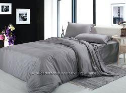 Комплекты постельного белья из серого страйп-сатина