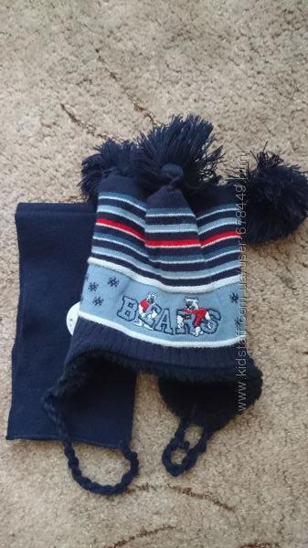 Набор шапка и шарф полушерсть зима ОГ 51-52 см.