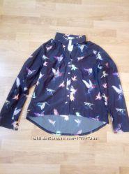 Блуза женская райские птицы темно-коричневая