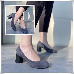 Элегантные серые туфли лодочки из замши, замшевые туфли на каблуке
