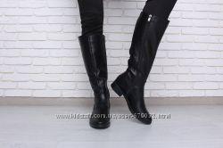 Высокие кожаные сапоги с вставками на голенище от vm-Villomi