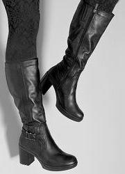 Высокие кожаные зимние сапоги на каблуке европейка, сапоги кожа зима