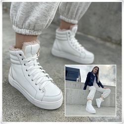 Кожаные спортивные ботинки белого цвета зима, зимние ботинки хайтопы кожа