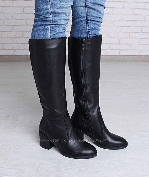 Кожаные высокие зимние сапоги на каблуке, сапоги кожа  зима