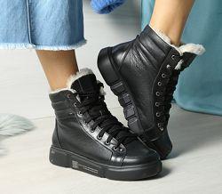 Удобные кожаные зимние хайтопы спортивные ботинки, ботинки кожа зима