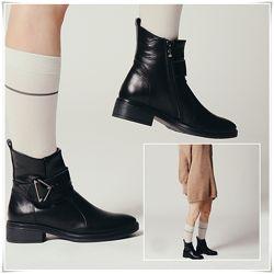 Кожаные зимние ботинки с косым верхом, ботинки кожа зима