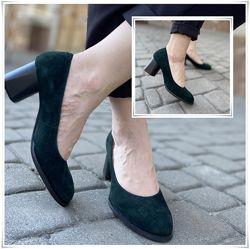 Женские туфли лодочки из натуральной замши, зеленые замшевые лодочки