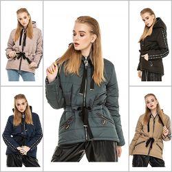 Распродажа, женская деми куртка парка на кулиске, 5 цветов