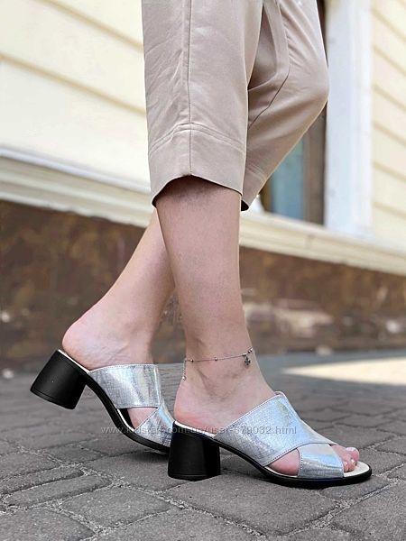 Кожаные серые сабо на каблуке, шлепанцы кожа натуральная