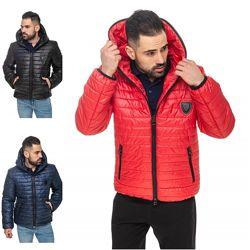 Мужская стеганная куртка с капюшоном деми, куртка деми стеганка