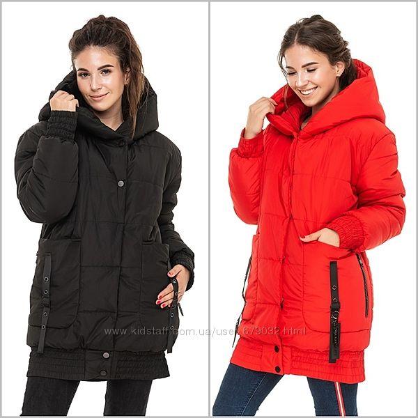 Зимняя удлиненная курточка с капюшоном, куртка зима
