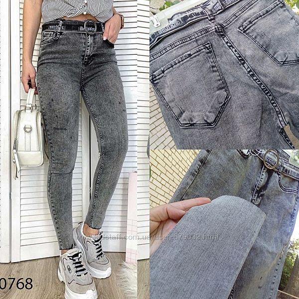 Американка серая царапки, джинсы женские с высокой посадкой