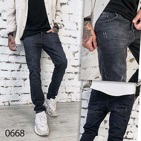 Новинка Стильные мужские джинсы с царапками, темно-серые, Турция