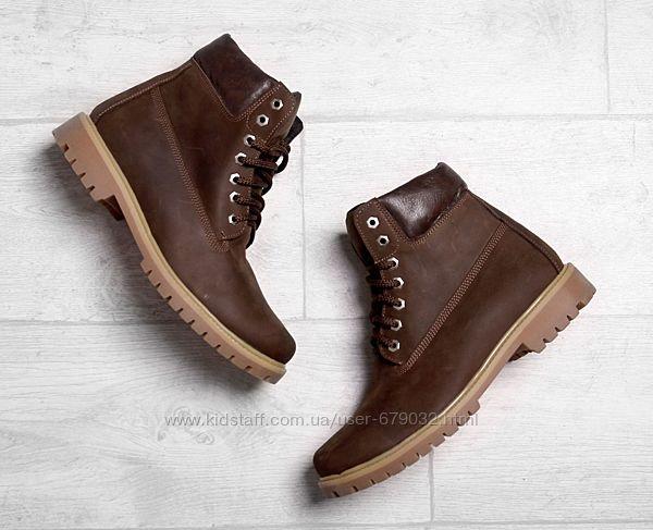 Коричневые кожаные мужские зимние ботинки нубук,  ботинки кожа зима