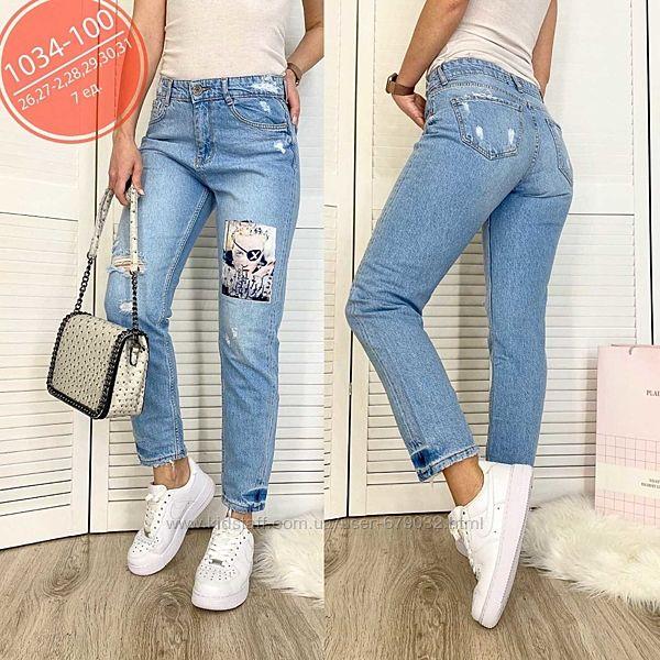 Стильные голубые турецкие джинсы МОМ с принтом,  аппликация, джинсы рваные