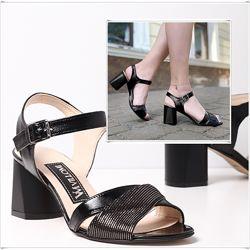 Черные открытые кожаные босоножки на каблуке, босоножки кожа