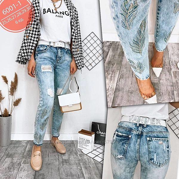Стильные голубые джинсы рваные вышивка с ремнем, джинсы рванка