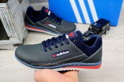 Подростковые кожаные синие кроссовки Adidas 10877