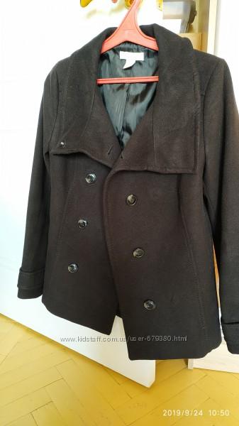 Черное пальто полупальто