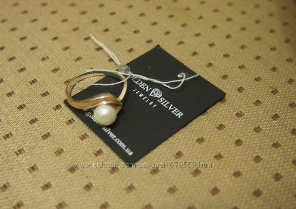 кольцо 17. 5  серебро 925 и золото 375