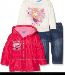 деми комплект Disney Frozen  74 см розовая куртка, джинсы , лонгслив