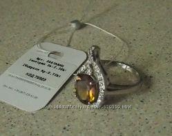Кольцо с натуральным аметрином боливанитом 18 серебро 925 фианиты