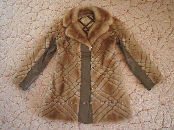 Шуба пальто норка М  застежки с камнями