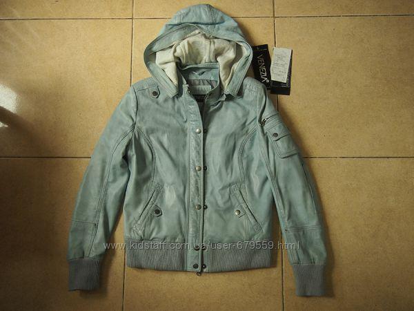 куртка кожа Venezia M-L эксклюзив голубая с серым тонированием