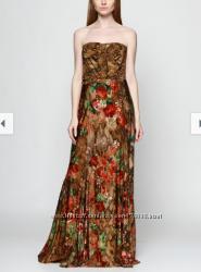 платье вечернее повседневное Mango L принт цветы золотой пояс