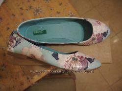балетки Benetton цветы бирюза 34