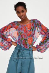 блуза Zara M трикотаж полиэстр цветы