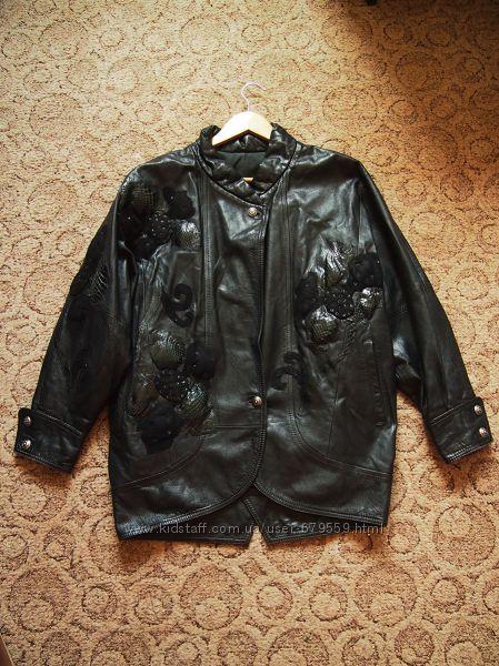 куртка трапеция кожа, цветы,  кожа питона L