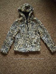 Короткая шуба h&m 32 xxs  леопард с капюшоном деми