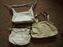 три итальянских сумки среднего размера натуральная кожа на материал