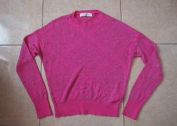 свитер Zara  S-M розовый с серебром
